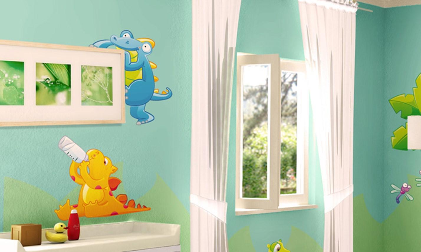 Stickers murali bambini cameretta cuccioli di dinosauro - Adesivi murali camerette bambini ...